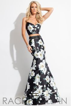 Beautiful floral two piece prom dress. The black, sleek design and fit, is so elegant. Strapless, flowers, beautiful embellished belt. Rachel Allan 2017 prom dress.