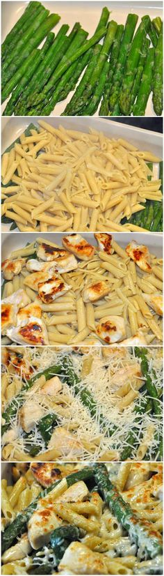 Chicken and Asparagus Penne Bake 1 lb Asparagus- Steamed 12 oz Smart Taste Penne- Cooked 1/4 Cup Olive Oil 1 lb Chicken Breast- Cubed and Cooked 1/2 Cup Shredded Parmesan Instructions Add all ingredients into a 9 x13 pan and stir to combine. Top with Cheese and Broil for 5 minutes or until cheese is golden.