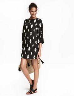 Patterned Dress   Black/white   Ladies   H&M US