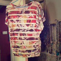 AUCTION ends 5:00 p.m. CDT 6.16.2016 - This Top! AUCTION!! ... Beautiful fall colors; great with a cardigan..or alone on warmer days.  Little tucks on the sides give a tailored effect at the waist!...Bid begins at $5..Use offer button.  Winner selected at time given. Tops Tees - Short Sleeve
