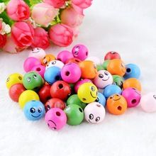 Free Shipping-Wholesale 100pcs Mixed Smiling Face Wooden Beads Wood Spacer Beads 14mm For Fashion Jewelry Making DIY J2284(China (Mainland))
