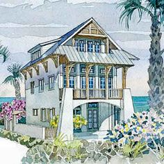 Looking for the best house plans? Check out the Waterfront Villa plan from Coastal Living. Beach Cottage Style, Beach Cottage Decor, Coastal Cottage, Coastal Homes, Coastal Style, Coastal Living, Southern Living, Beach Homes, Seaside Style