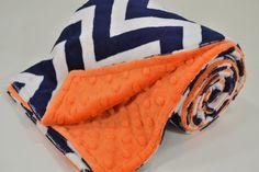 Minky Baby Blanket - Navy and Ivory Chevron Minky - Orange Minky Dimple Dot - Double Minky Blanket - Baby Size 29x35 on Etsy, $35.00
