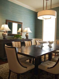 Dining Room Grasscloth Wallpaper Design, Pictures, Remodel, Decor and Ideas