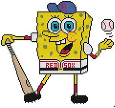 Cross Stitch Knit Crochet Plastic Canvas Waste Canvas Rug Hooking Pattern  Sponge Bob loves to play baseball for the Boston Red Sox.!  You can put whatever team you want on yours.  https://www.pinterest.com/resparkled/