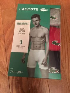 60d3c2a1c1be Lacoste Essentials Mens 3-pack Boxer Briefs Size Large Navy/Red/Grey $42  #fashion #clothing #shoes #accessories #mensclothing #underwear (ebay link)