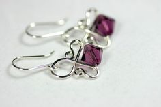 Amethyst Earrings Wire Wrapped Jewelry by JessicaLuuJewelry, $30.00 #cuff&wrapearrings