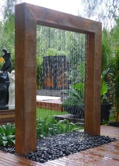 Beautiful Corten Steel Rain Curtain Water Feature