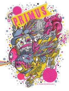 Primus - silkscreen concert poster (click image for more detail) Artist: Drew Millward Venue: Big Sky Brewing Amphitheatre Location: Missoula, MT Concert Date: Poster Series, Poster On, Poster Prints, Tour Posters, Band Posters, Music Posters, Graphic Design Illustration, Illustration Art, Psy Art