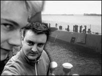 Jamie and Ben infront of Tim's submarine