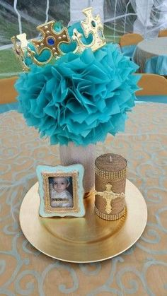 Boy Baptism Ideas Baptism centerpiece
