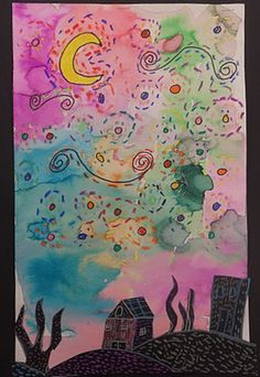 2nd grade starry night. I could use this art project in Language Arts with letter writing.