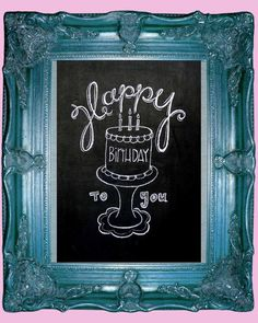 Happy Birthday to You hand drawn chalkboard art--8 x 10-cake-candles-cake stand on Etsy, $10.00