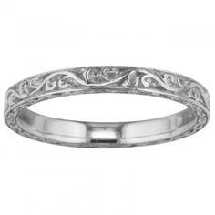 Victorian Scroll Pattern Platinum Hand Engraved Wedding Ring