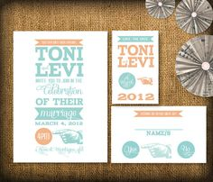 Retro Wedding Invitation Save the Date and RSVP by HermiasWishes, $30.00