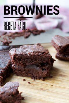 Receta fácil de brownies - Race Tutorial and Ideas Easy Cookie Recipes, Brownie Recipes, Sweet Recipes, Cake Recipes, Dessert Recipes, Chocolate Mug Cakes, Chocolate Brownies, Food Cakes, Cupcakes