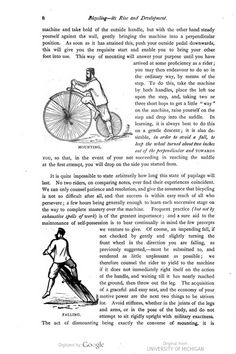 Directions and illustrations of mounting and dismounting a bicycle from Bicycling: Its Rise and Development.