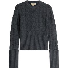 Michael Kors Collection Wool-Cashmere Cable Knit Pullover ($765) ❤ liked on Polyvore featuring tops, sweaters, grey, grey cable knit sweater, long sleeve sweaters, gray sweater, grey sweater and cable knit pullover sweater