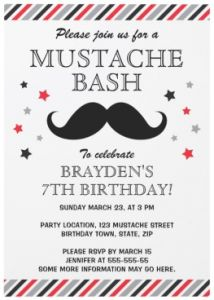 Mustache bash birthday party invitation lime green and aqua blue