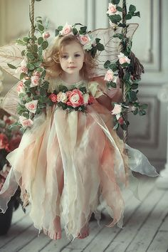 Flowers fairy #girl #sweet #cute #roses #pink #white