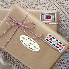 """Bespoke Press Airmail Bakers Twine """"brown paper packages tied up with string, these are a few of my favorite things..."""""""