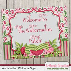 Watermelon Party Printable  Welcome Sign, great decoration to match you party theme