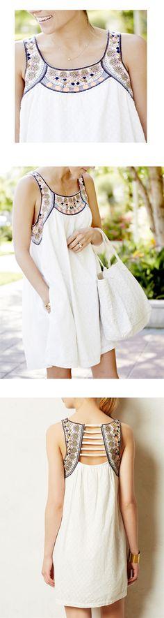 White Sleeveless Tribal Embroidered Dress