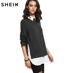 SHEIN Autumn Women Casual Pullovers Ladies Color Block Lapel Long Sleeve Contrast Collar Curved Hem 2 In 1 Sweatshirt #Affiliate