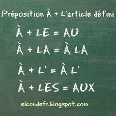 El Conde. fr: Les articles contractés avec la préposition à
