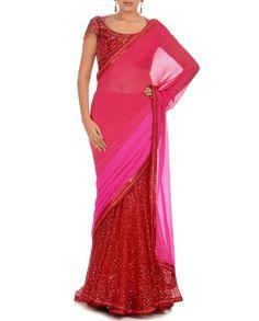Pink Colour Mirage Lengha Saree, Tarun Tahiliani