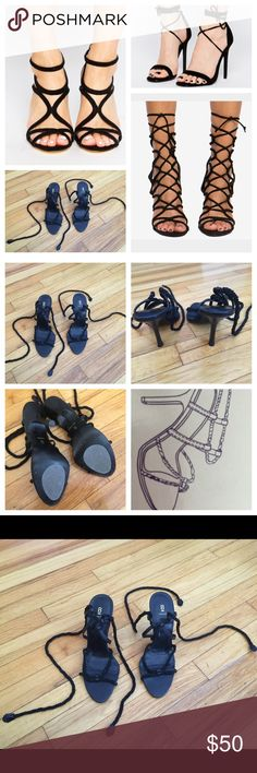 Bakers Strapppy Eve high heel shoe Excellent used condition. Used maybe a total of 3 times. No-slip grip added to the bottom so they don't slide when your walking... Prevent you from slipping. Size 7. True to size. Ties up your leg. Black.. Bakers Shoes Heels