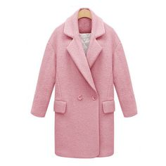 Lapel Double Breasted Woolen Pink Coat ($56) ❤ liked on Polyvore featuring outerwear, coats, lapel coat, red double breasted coat, pink wool coat, woolen coat and double-breasted coat