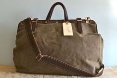 Harry drab olive waxed canvas bag with detachable leather strap from Etsy by Sidney & Sons