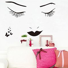 nice Fancinating Long Eyelashes Girl Wall Stickers Wall Decal Art Removable Vinyl Wall Poster Wall Mural Bedroom Decal Home Decor Beauty Tool