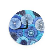 Kess InHouseHeidi Jennings 'Blue Lagoon' Aqua Navy Wall Clock (Blue Lagoon) (Wood)