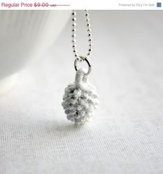 HOLIDAY SALE Snow Dusted White Pinecone Pendant  by belleonabudget