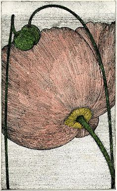 Art Hansen. Three Poppies, 1987. Hand colored etching. Edition of 2 AP. 9 x 5-1/2 inches.