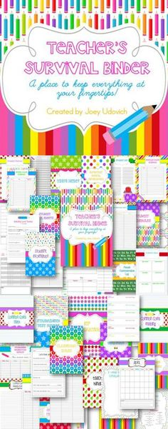 The Ultimate Teaching Survival Binder: The Colors Of Teaching Theme