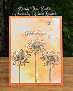https://flic.kr/p/JhR8Bo | Orange Celebrating You Card | I made this card using the gorgeous Loving Mom stamp set from Kennedy Grace Creations. I smooshed color with Zig Markers then gold embossed the images & sentiment with Ranger Platinum Gold embossing powder. I also have to note that I love this Citrus card base from Avery Elle (Citrus Collection). Sheena Joy 2016 - Joy's Studio #kennedygraccreations #SheenaJoy #JoysStudio