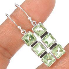 Green Amethyst 925 Sterling Silver Earring Jewelry EE5293 | eBay