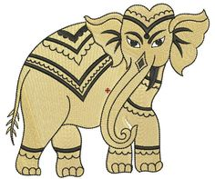 elephant machine embroidery design, machine embroidery pattern, royal elephant by paadarclub on Etsy