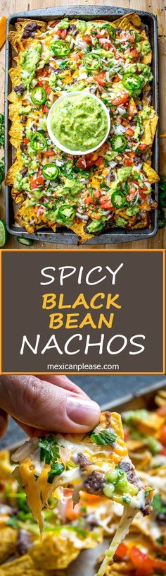 It s tough to beat the combo of warm tortilla chips melted cheese and spicy black beans in other words nachos! these beans have some kick built into them from chipotles in adobo and they are beyond delicious mexicanplease com wraps Veggie Recipes, Appetizer Recipes, Mexican Food Recipes, Cooking Recipes, Vegetarian Cooking, Vegetarian Nachos, Meal Recipes, Vegetarian Mexican Food, Nacho Recipes