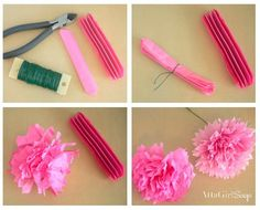 DIY Tissue Paper Ranunculus Flowers Create pretty Ranunculus flowers with supplies you already have! Rolled Paper Flowers, Paper Flower Art, How To Make Paper Flowers, Tissue Paper Flowers, Paper Flower Tutorial, Diy Flowers, How To Make Crepe, How To Make Tassels, Crafts For Teens
