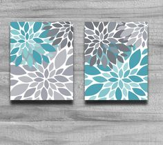 Turquoise Gray Flower Burst Print Set Home by PrintsbyChristine, $21.00