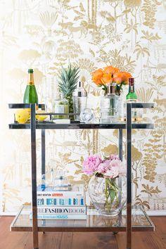 Veneto Serving Cart - Bar Cart Styling + wallpaper goals <3