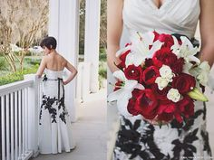 Non Traditional Red Rose Bouquet Oriental Lilies Ivory Spray Roses And Tulips