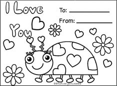 Print out happy valentines day ladybug coloring cards - Printable Coloring Pages For Kids