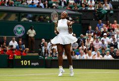 Serena Williams reacts against Switzerland's Amra Sadikovic during Wimbledon.