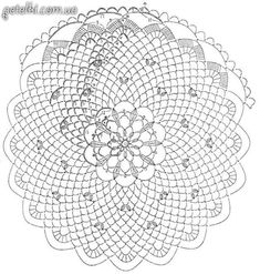 Look what a wonderful tablecloth pattern I've found. Crochet Doily Diagram, Crochet Chart, Filet Crochet, Crochet Motif, Crochet Designs, Crochet Lace, Doily Patterns, Embroidery Patterns, Crochet Doilies