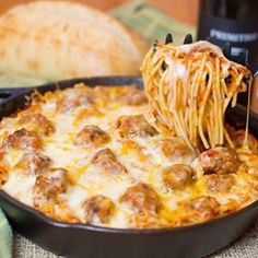 """This recipe had being going CrAzY on Pinterest!!! Head on over to my blog and search """"Baked spaghetti"""